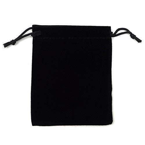 カラーポーチ 巾着袋 8×10cm 小物入れ ケース ソフトタイプ ベルベット スエード調 メガネポーチ サングラス 眼鏡 スマホ入れ スマートフォン アクセサリー用 (ブラック)