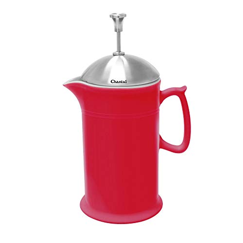 Chantal Ceramic French Press with Stainless Steel Plunger/Lid, 28 ounces, Red