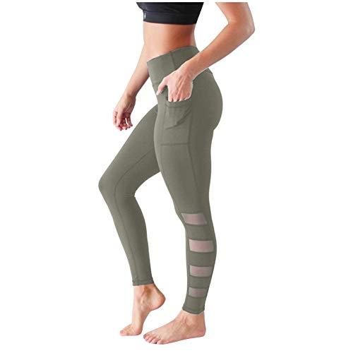 Medias de Yoga con Control Abdominal Sexis para Mujer, Bolsillos, Pantalones de Barras paralelas de Malla de Color sólido de Secado rápido, Pantalones Anti-Yoga, Cintura Alta