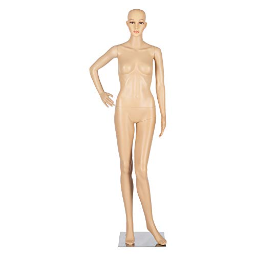 Bonnlo Female Mannequin Full Body Adjustable Mannequin Torso Dress Form with Metal Base 68inch, Detachable Plastic Manikin Body Female, Realistic Display Mannequin