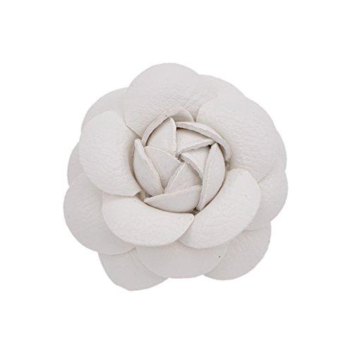 YNuth DIY Flor de Camelia Artificial de Cuero para Decoración de Sombreros Zapatos Bolsos Broche de Camelia para Mujeres Color Blanco