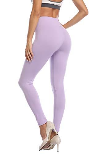 Kotii Women's High Waist Soft Full Length Leggings, Light Purple, Plus Size