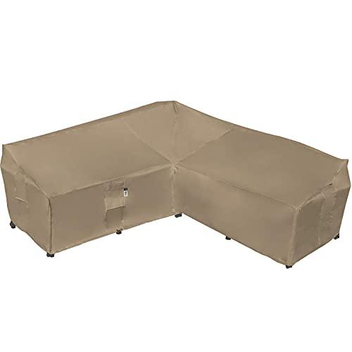 헤비 듀티 옥외 단면 소파 커버 100 % 방수 600D 파티오 단면 소파 커버 잔디 파티오 가구 커버 (사막 카키 V 형 -90 X 90)
