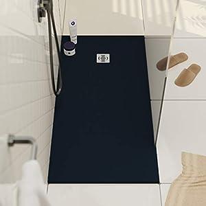 Plato de ducha de resina con carga mineral 70x80 cm Gris cemento: Amazon.es: Bricolaje y herramientas