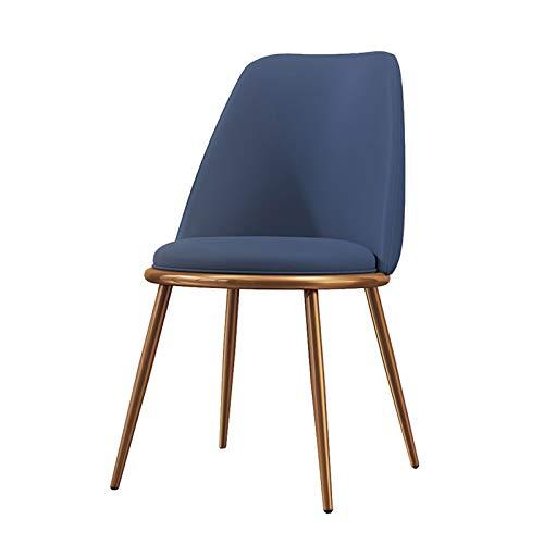 Silla de salón tapizada con patas de metal brillante, sillas de cocina, sin brazos, estilo urbano acolchado, para sala de estar, cocina, restaurante (color: azul)