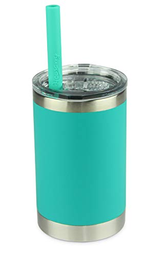 Housavvy Kids Tumbler Vacuum Insulated Stainless Steel Cup with Lid and Straw, 11oz, OliveGreen