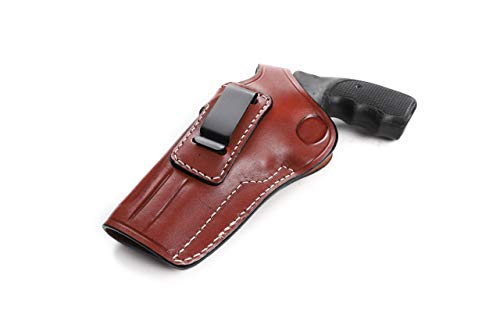 Pusat Holster Revolver 38 Special-357 Magnum 2 and 4 inch Concealed Carry Leather IWB Holster for EAA Windicator Draw Left Hand Colors Black-Brown (Brown, 4 BBL)