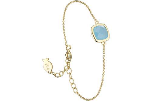 Clio Blue - Pulsera de cadena Josephine en plata 925, oro de 18 K, turquesa 1,7 g