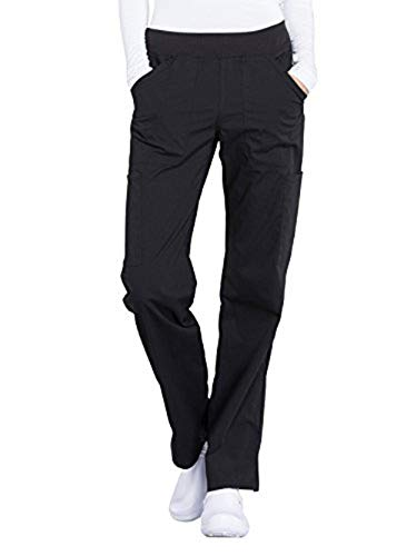 CHEROKEE Workwear Professionals WW170 Women's Mid Rise, Straight Leg Pull-On Pant, Black, Small Petite