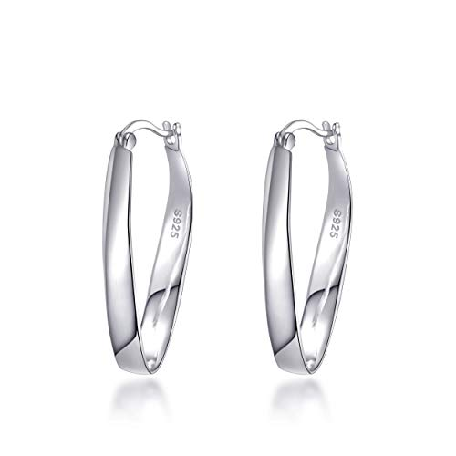 Sterling Silver 30mm Oval Hoop Earrings