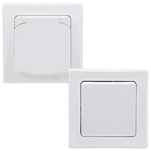 DELPHI Steckdose Schalter für Aussen IP44 inkl. Rahmen 230V I Unterputz Wechselschalter Steckdose mit Klappdeckel für Feuchträume und Aussenbereich Weiß