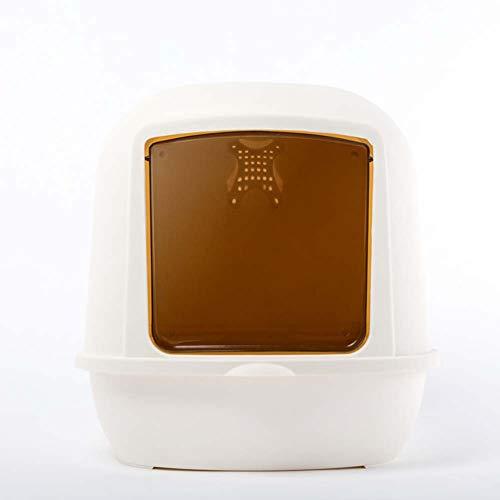 LHPT Lettiera Completamente Chiusa, Doppio Strato Flip Anti-Splash Super King Cat lettiera per Toilette-White