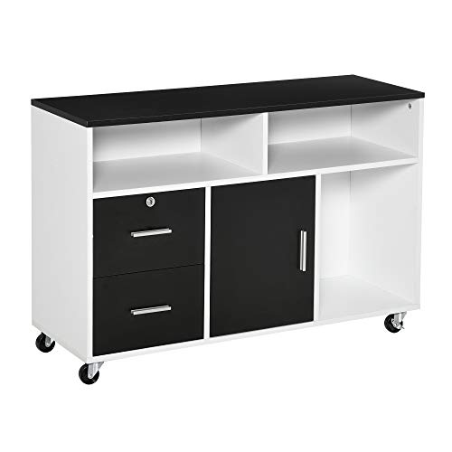 HOMCOM Mobile File Cabinet Home Office Lateral Filing Cabinet, Printer...