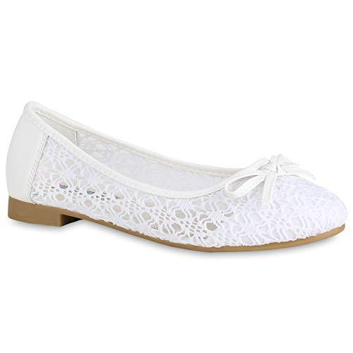 stiefelparadies Klassische Damen Ballerinas Spitzenstoff Schuhe Schleifen Flats Slippers Pretty Freizeitschuhe Elegante Slip Ons 172778 Weiss Total 40 Flandell