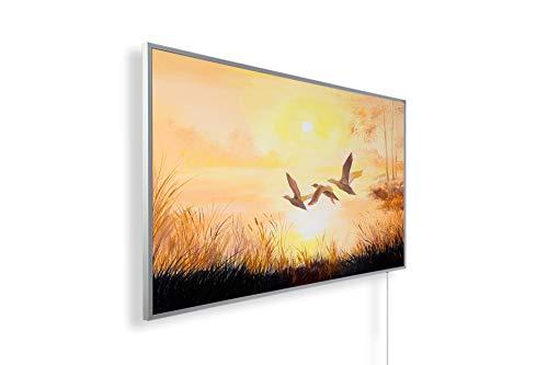 Könighaus Fern Infrarotheizung - Bildheizung in HD Qualität mit TÜV/GS - 200+ Bilder – mit Smart Home Thermostat, steuerbar mit APP für Handy- 1000 Watt (108. Flugenten Ölgemälde)