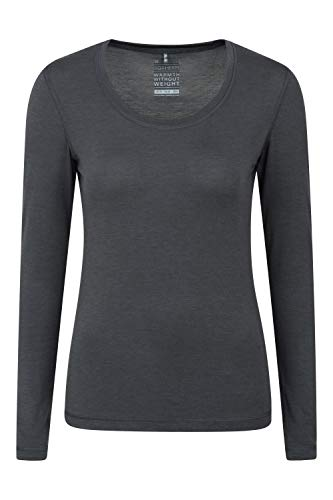 Mountain Warehouse Keep The Heat Isotherm Womens Round Neck Top -Lightweight Ladies Baselayer, Breathable Underlayer, Warm -Best for Skiing, Snowboarding in Cold Weather Dark Grey 6
