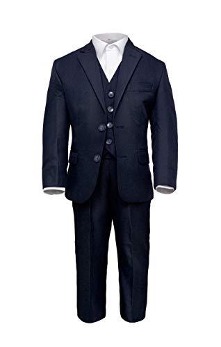 Märchenburg® 4 TLG. festlicher Jungen Anzug Kombinationen Jacke, Weste, Hose und Hemd in dunkelblau für Kommunion Konfirmation Hochzeit Party (152)
