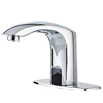 Automatic Bathroom Sink Faucet with Hole Cover Plate Sensor Touchless Dual-Powered Chrome Vanity Faucets Hands Free Bathroom Water Tap with Control Box and Temperature Mixer