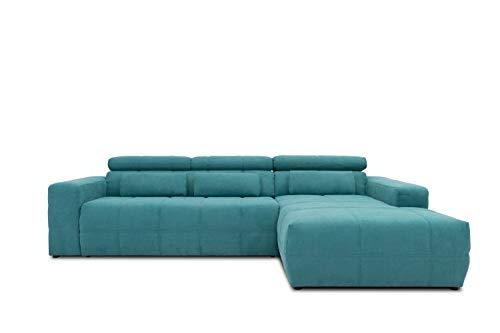 DOMO Collection Brandon Ecksofa, Sofa mit Rückenfunktion in L-Form, Polsterecke Eckgarnitur, 288 x 175 x 80 cm, Polstergarnitur in türkis