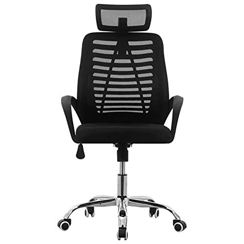 Festnight Silla de Oficina Ajustables y Soporte Lumbar, sillón Oficina ergonomica para Personas sedentarias, Negra