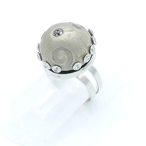Großer silberner Bronze-Ring mit Swarovski-Kristall, Weihnachtsgeschenk Valentinstag Jubiläum...