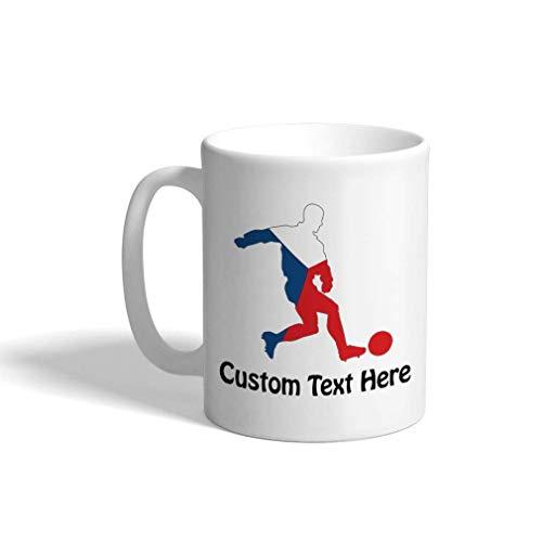 Aangepaste grappige koffiemok koffiebeker voetballer Tsjechië witte keramische theekop 11 Ounces Personalized Text Here Multi01