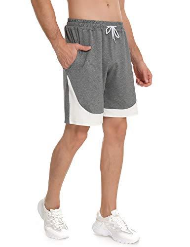 Doaraha Pantalones Cortos Deportivos Hombre Algodón Ropa de Dormir Pantalón Corto Casual Sport Shorts Bolsillos Pantalón Chándal Suave Transpirables Running Fitness Correr (1355# Gris Claro, M)