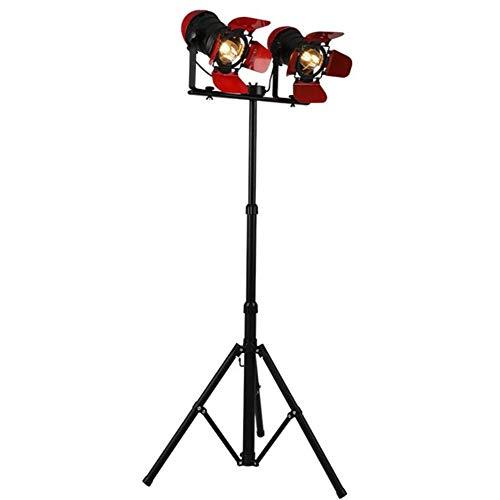 Stehlampe, Retro Steampunk Spotlight Red Double Head E27 Adjustable Backen Farbe Schmiedeeisen Tripod Standlicht 175 cm, for Wohnzimmer Schlafzimmer Arbeitszimmer