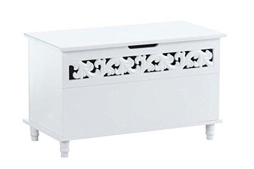 CLP Truhenbank Millie mit aufklappbarem Deckel | Sitzbank im Landhausstil | Wäschetruhe mit floralen Elementen im Landhausstil Weiß