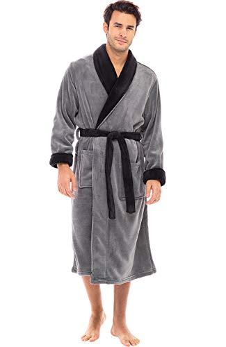 Alexander Del Rossa Men's Warm Fleece Robe, Plush Bathrobe, Large-XL Steel Gray with Black Contrast (A0114STBXL)