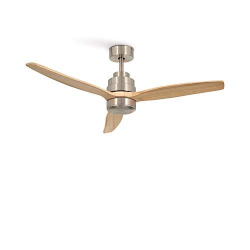 IKOHS Create WINDSTYLANCE DC Nickel- Ventilador de Techo 40W DC Reverse (Sin luz - Madera Clara)