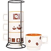 4-Pack Derui Creation Stackable Coffee Cups with Metal Stand Rack