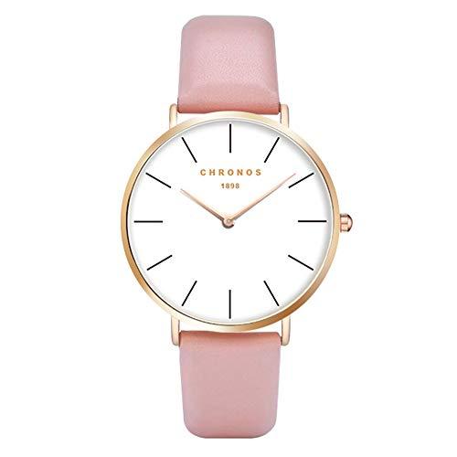 Relojes Mujer Ultradelgado Cuero Clásico, Rosado-Oro Rosa