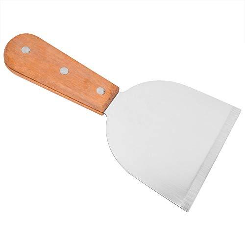TOPINCN Grillschaber aus Edelstahl mit abgeschrägter Kante Grillschaber Küche Kochen Steak Bratschaufel Pfannkuchen Flipper Holzgriff