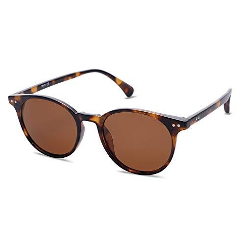 SOJOS Polarisierte Sonnenbrille Herren Damen Retro Schmale Rechteckige Sonnenbrille UV400 Schutz MAY SJ2113 mit Schildkröten Rahmen / Braune Linse