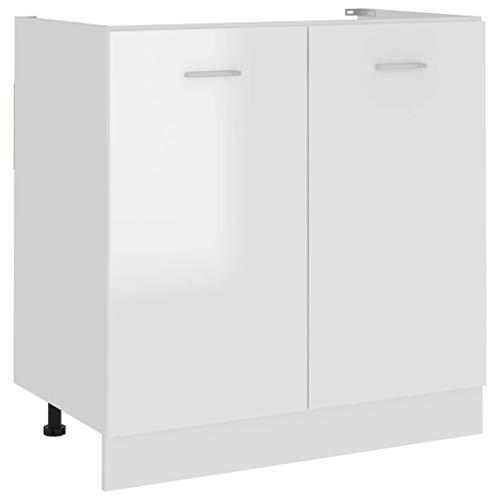 vidaXL Spülenunterschrank Küchenschrank Küchenzeile Küchenmöbel Unterschrank Küchenunterschrank Schrank Hochglanz-Weiß 80x46x81,5cm Spanplatte