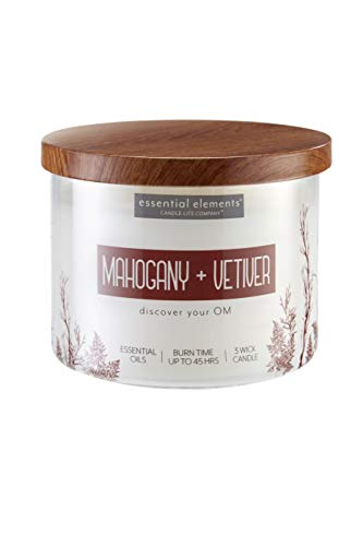 Essential Elements by Candle-Lite Company Scented Mahogany & Vetiver 3-Wick Jar Candle, 14.75 oz, Off White