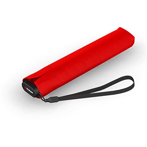Knirps Taschenschirm Ultra US.050 Slim Manual – Ultra leicht und flach – Sturmfest – Windproof – 21 cm – Rot