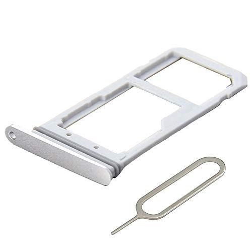 MMOBIEL SIM/SD Karte Schlitten Tray kompatibel mit Samsung Galaxy S7 G935 Edge 5.5 Inch (Weiß/Silber) inkl. SIM Pin