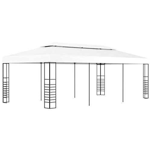 Extaum Gartenpavillon Pavillon Sonnenschutz Faltpavillon Gartenzelt Terrassendach Anbaupavillon 6×3 m / 3x6 m Weiß/Anthrazit