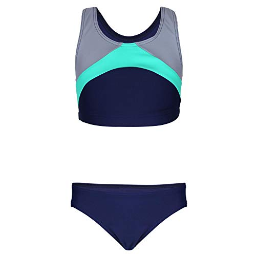 Aquarti Mädchen Sport Bikini Racerback Bustier & Bikinislip, Farbe: Dunkelblau/Grau/Grün, Größe: 146