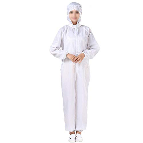 SHANGLY Wiederverwendbar Schutzanzug Antistatischer Staubschutz Arbeitskleidung für die Mechatronik Industrie und die pharmazeutische Fertigung,Weiß,XXXL