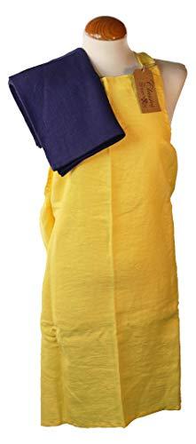 Norfolk naaien bedrijf geel linnen schort en thee handdoek set