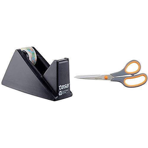 tesa Easy Cut Economy Klebebandabroller mit ecoLogo für Tische/Ökologischer Tischabroller für Klebefilm bis 33 m x 19 mm & Amazon Basics Schere mit weichem Griff, 20cm, 1 Stück