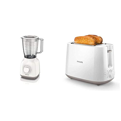 Philips Daily HR2100/00 - Batidora Americana de Vaso, 400 W, Jarra 1.5L, Plástico Ultra Resistente, Color Blanco + Daily HD2581/00 -Tostador 830 W, Doble Ranura, Color Blanco