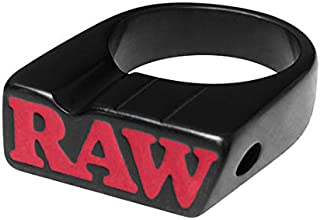 Raw Black Ring for Smoking   Size 8   Matte Black Red Ring with Circular Hole Slot for Pre-Rolled Cones