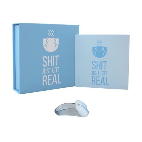 Nasenklammer zum Windeln wechseln, lustiges Geschenk zur Geburt oder Schwangerschaft, Geschenkset für Baby, für Mama und Papa (blau)
