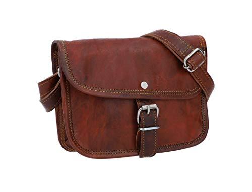 Gusti Umhängetasche Damen Leder - Mary S Ledertasche Handtasche Damen Vintage Braun