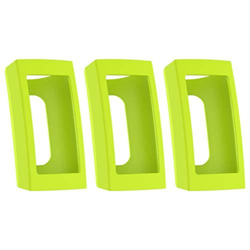 Pacote com 3 unidades NICERIO compatíveis com Fitbit Charge 3 protetores de tela macios capa completa para-choques de silicone capa protetora para pulseira inteligente, Verde, 4.15*2.48cm
