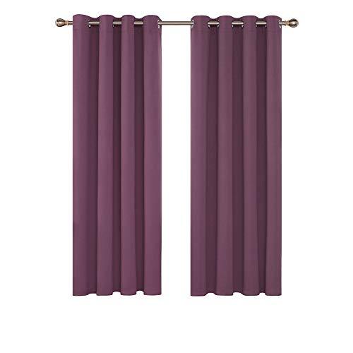 Deconovo Blickdichter Vorhang mit Ösen Vorhang Blickdicht Ösenvorhang Blickdicht 160x132 cm Graulila 2er Set